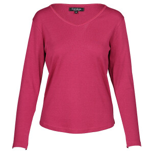 1×1 Rib V-neck Long Sleeved Tee Plum