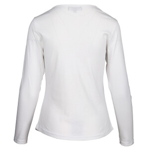 1×1 Rib V-neck Long Sleeved Tee White