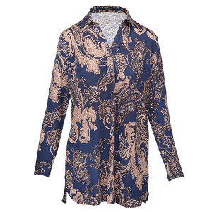 Tunic Shirt Long sleeved Paisley Print Navy