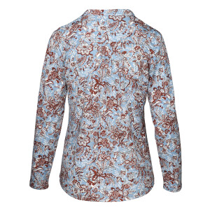 Jersey Printed Long sleeved Shirt Blue Brown Paisley Print
