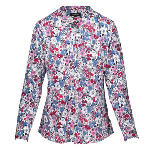 Jersey Printed Long sleeved Shirt White Denim Pink Floral