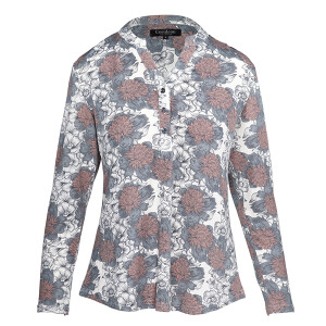 Jersey Printed Long sleeved Shirt Grey White Floral