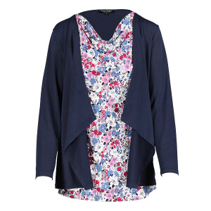 Jacket And Printed Top Set Black Navy Denim Pink