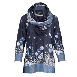 Top And Snood Jersey Set Floral Border Print Navy
