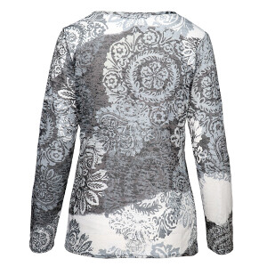 Burnout Top With Baroque Print Charcoal