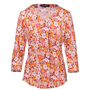 Floral Top Pleated Front Ginger