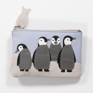 Penguin Leather Coin Purse Blue