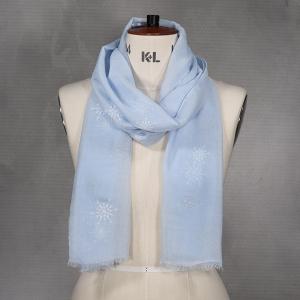Ladies Winter Scarf With Snowflake Print Blue