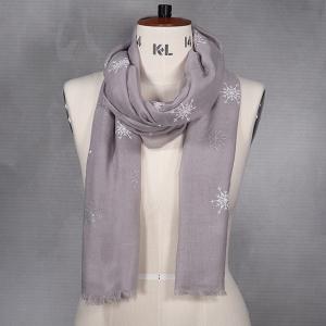 Ladies Winter Scarf With Snowflake Print Grey