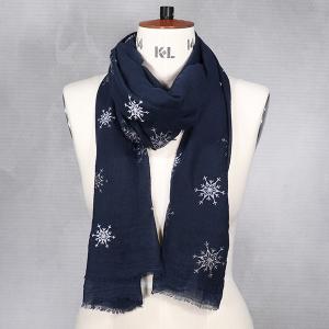 Ladies Winter Scarf With Snowflake Print Navy