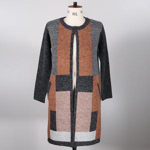 Knitted Coatigan Colour Block Black Ginger