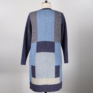 Knitted Coatigan Colour Block Navy Blue