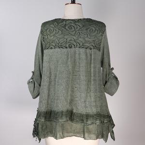 Mohair Lace Trim Top Khaki