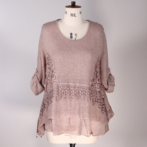 Mohair Lace Trim Top Pink