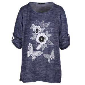 Floral Butterfly Peal Applique Top Navy