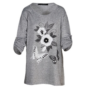 Floral Butterfly Peal Applique Top Grey