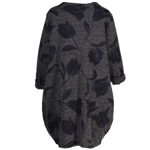 Oversized Sweater Tulip Print Navy Charcoal