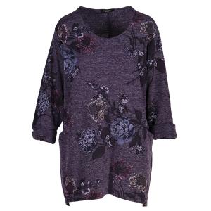 Oversized Sweater Floral Print Purple