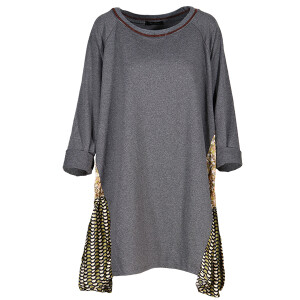 Sweater Dress Printed Side Panels Dark Grey