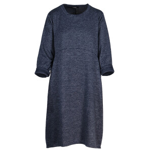 Knitted Curved Seam Dress Navy Marl