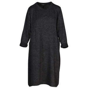 Knitted Curved Seam Dress Black Marl
