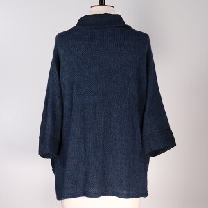 Cowl Neck Jacket Pockets Blue Jeans