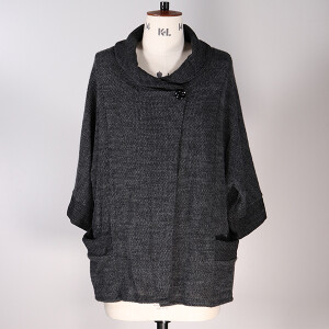 Cowl Neck Jacket Pockets Dark Grey