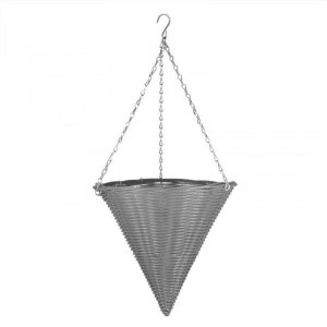 Slate Faux Rattan Hanging Cone
