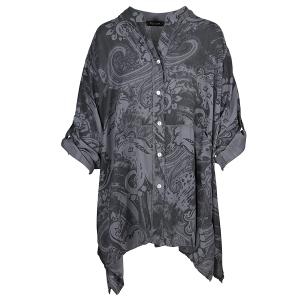 Oversized Shirt Paisley Print Charcoal