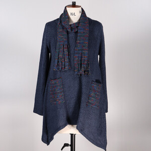 Space dye Tunic And Scarf Pockets Navy