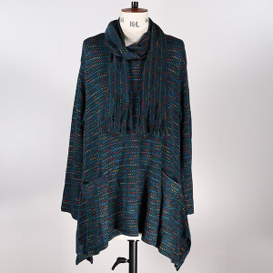 Space dye Tunic And Scarf Teal