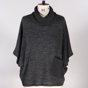 Cowl Neck Jumper 1 Pocket Charcoal