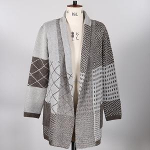 Coatigan With Pattern Boucle Yarn Grey