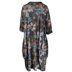 Dress Floral Print Jersey Grey