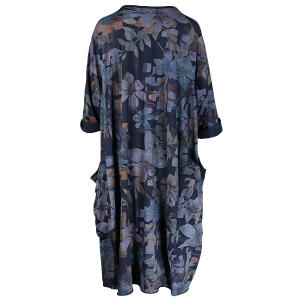 Dress Floral Print Jersey Navy