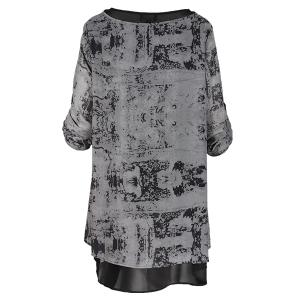 Printed Dress Layered Abstract Grey