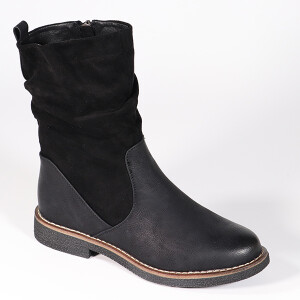 Ladies Flat Boot With Ruched Detail Black