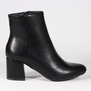 Ladies Ankle Boot With Mid Heel Black