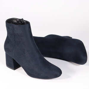 Ladies Ankle Boot With Mid Heel Navy