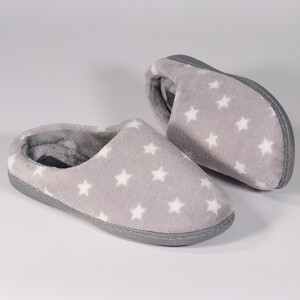 Ladies Star Design Mule Slipper Grey