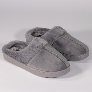 Ladies Velour Mule Slipper With Fur Lining Grey