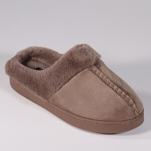Ladies Velour Mule Slipper With Fur Lining Mink