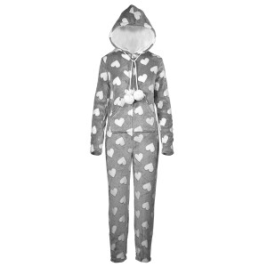 Heart Print Onesie Grey
