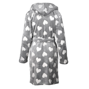 Ladies Soft Heart Print Robe Grey
