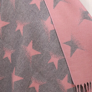 Ladies Reversible Scarf With Faded Star Pink