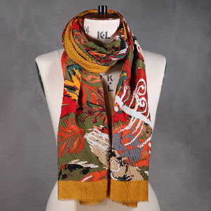 Ladies Scarf Bold Feather Print Crinkle Mustard