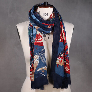 Ladies Scarf Bold Feather Print Crinkle Blue