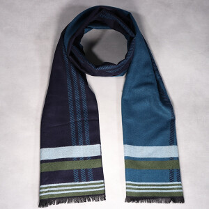 Men's Scarf Reversible Stripe Blue