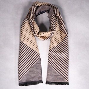 Men's Scarf Striped Blue Grey