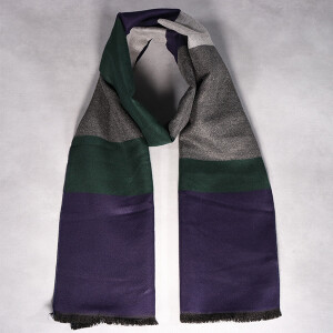 Men's Scarf Multi Stripe Soft Navy Green